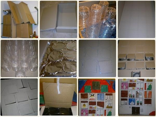 calendario dell'avvento in cartone e bottiglie di plastica