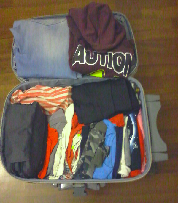 la valigia riempita secondo il metodo Konmari